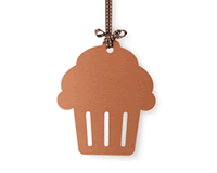 Project Management logo in the form of a cupcake shaped hang-tag