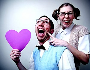 Wacky pair of lovers to illustrate like and share social media buttons