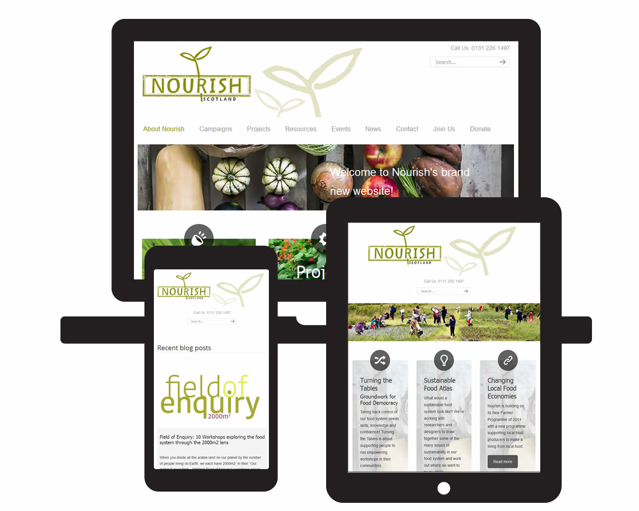 Screen visuals of Nourish Scotland responsive framework design