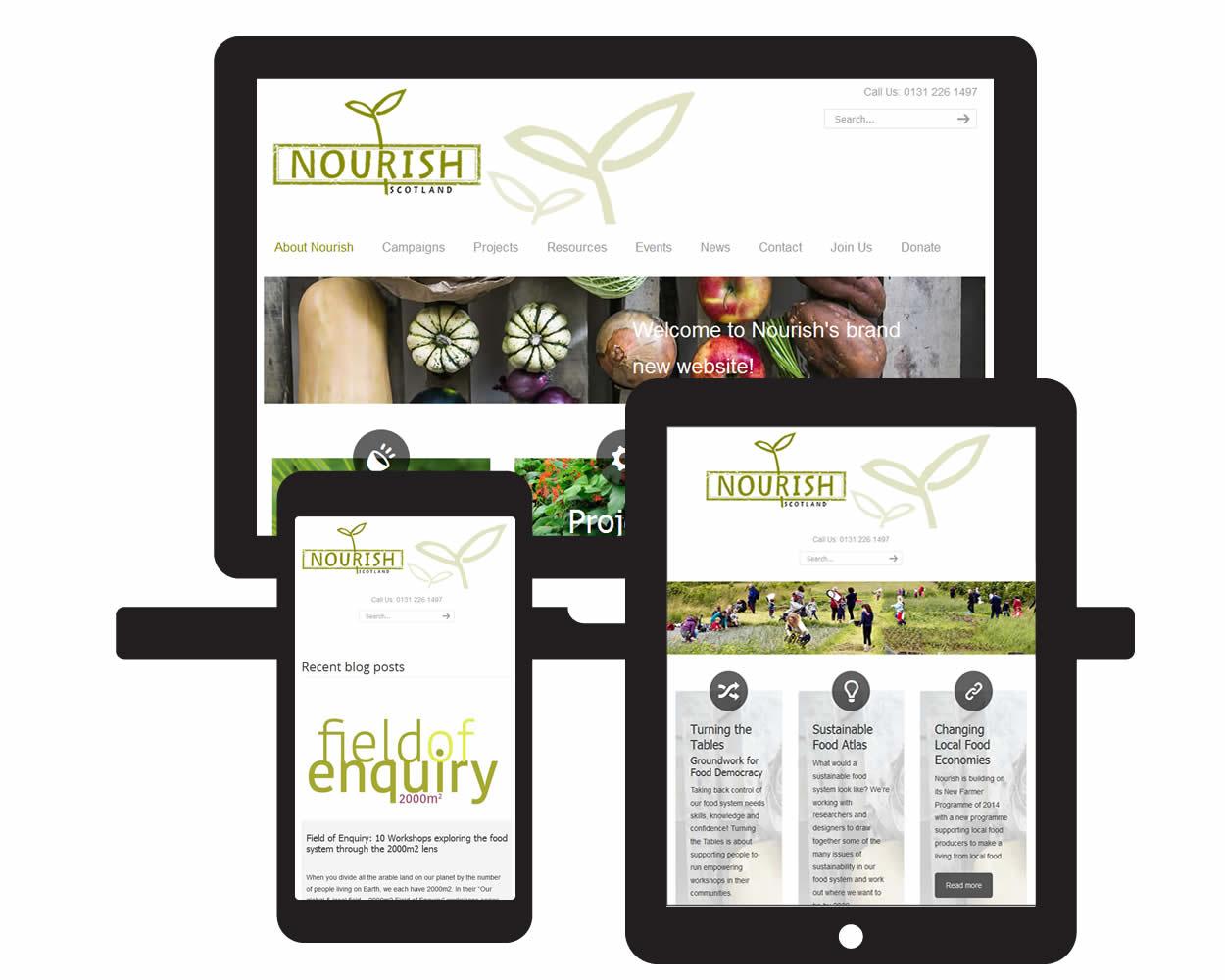 Screen visuals of Nourish Scotland responsive framework design