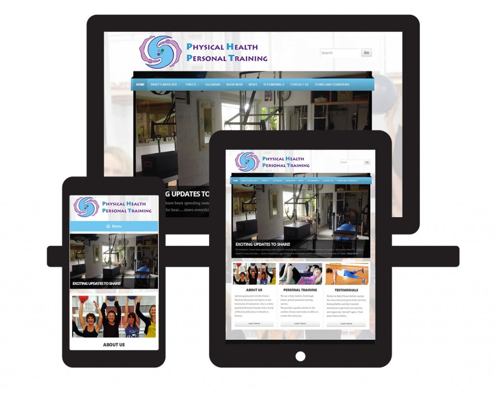 Mock-up of PHPT website on multiple screens