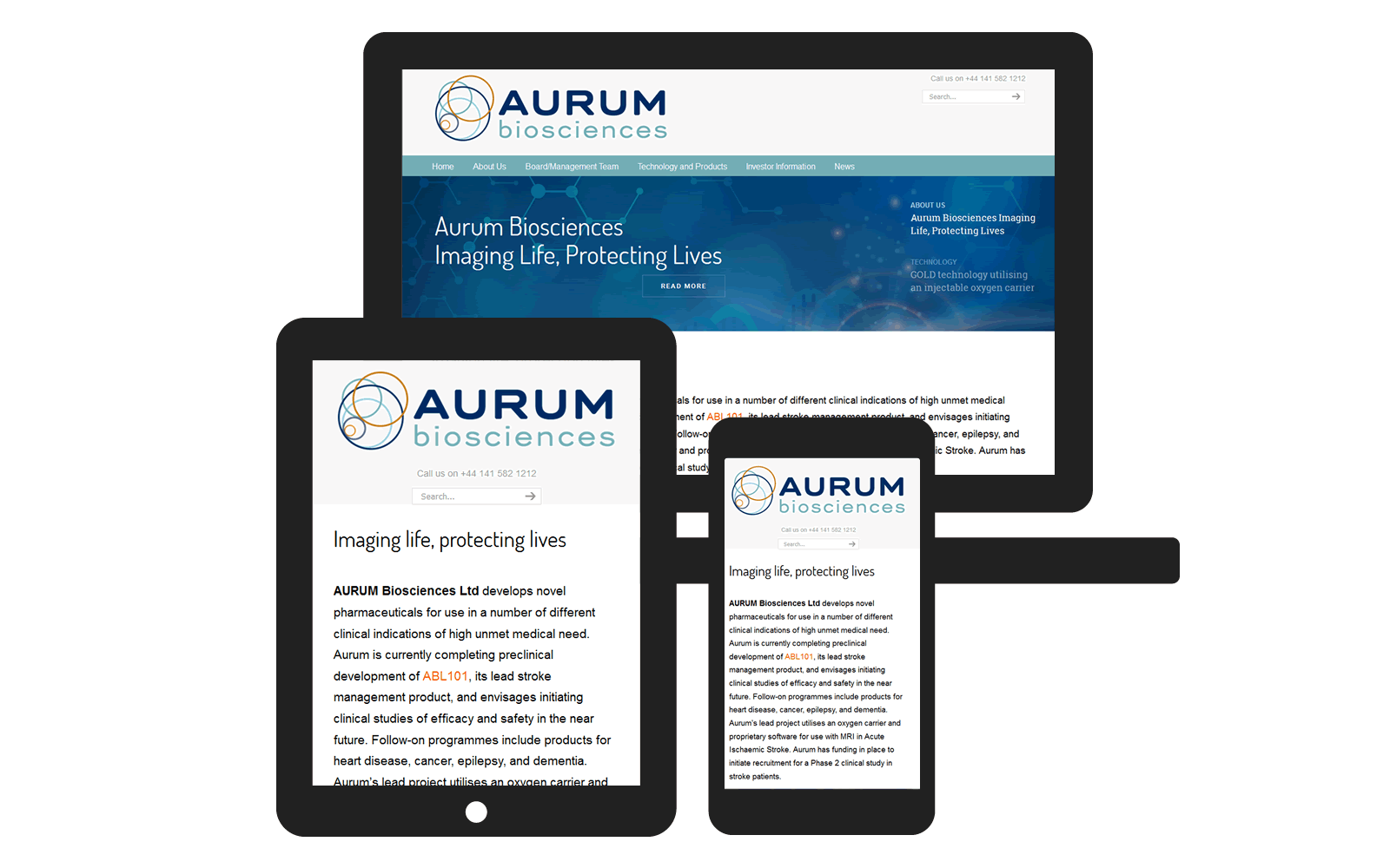 Screen visual of Aurum website website by Red E Web Design on mobile devices