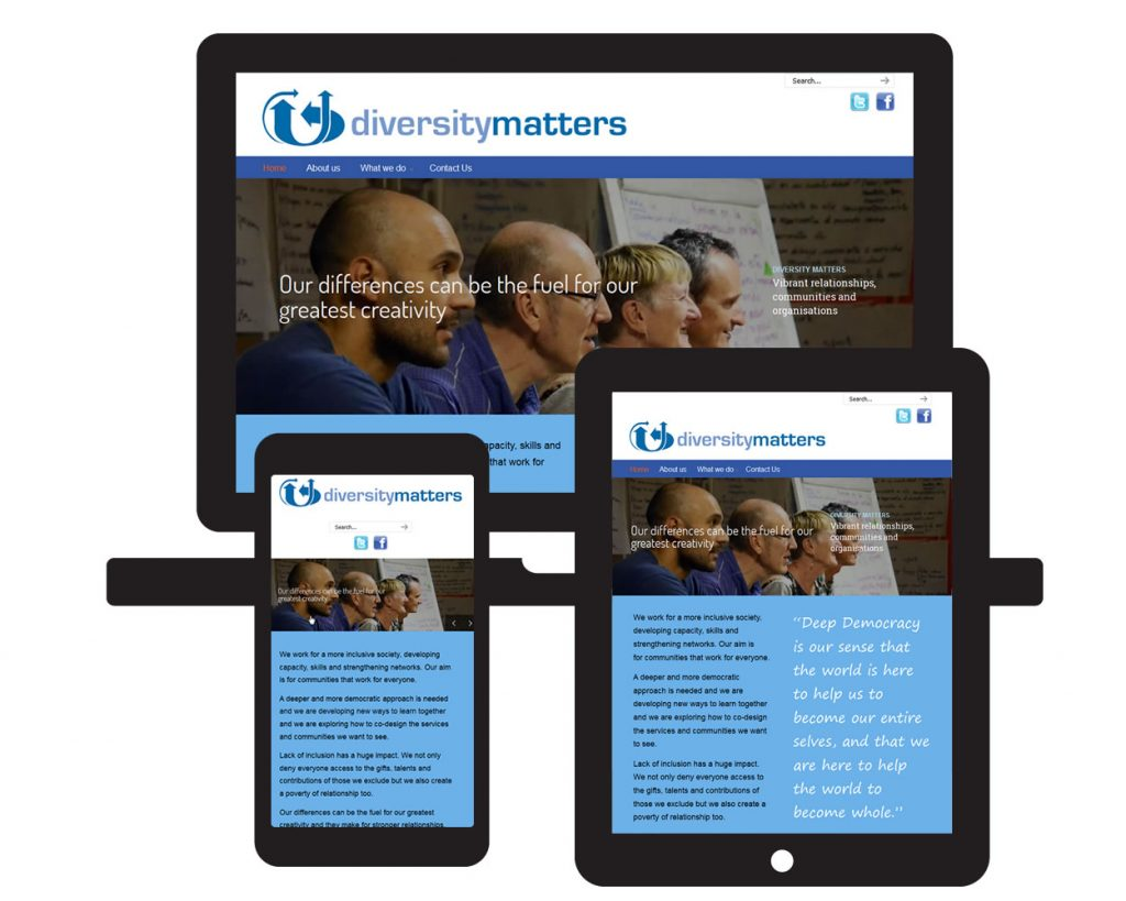 Screen visual of Diversity Matters website showing the site on laptop, tablet and mobile viewports