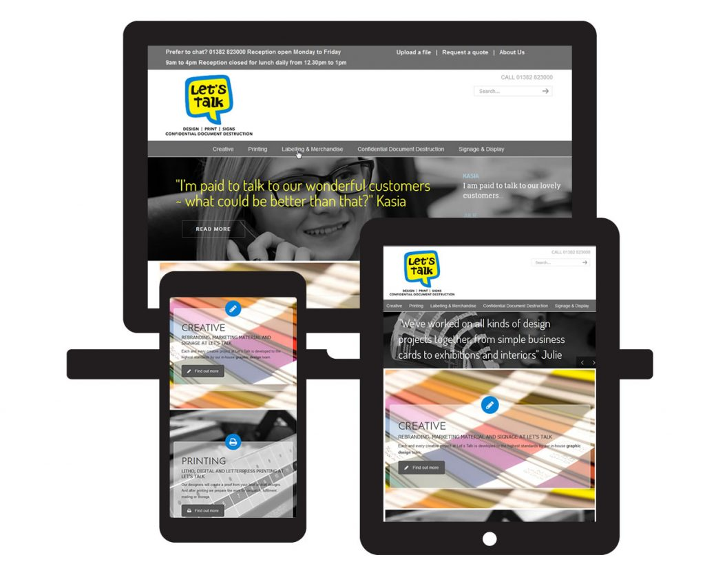 Screen visual of Lets Talk Print, Dundee, showing the website on three different platforms
