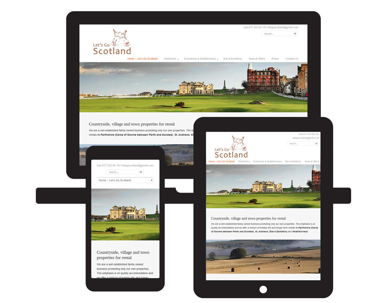 Screen visual of Lets Go Scotland website by Red E Web Design east Lothian on mobile devices