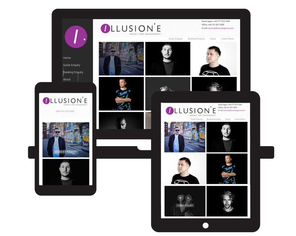 Screen visual of Illusion'E Agency website on three different screens