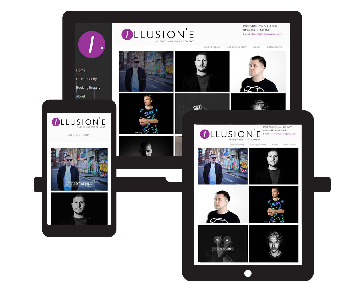Illusion'E Agency website by Red E Web Design on mobile devices